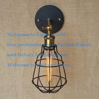 Wholesale Vintage Iron Metal Small Cages Wall Lamp High Quality Creative Garden Loft Lighting Edison light bulb fixtures