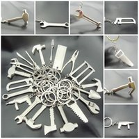 metal compass - Fashion Wrench Key Chain Creative Keyfob Kinds Of Tools Metal Mini Tool Silver Plated Changeable Spanner Hammer Gift F416L