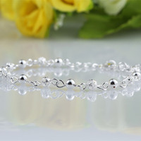 Wholesale 12Pcs Exquisite Hollow Beads Bracelets Women Sterling Silver Fashion Jewelry Party Wedding Trendy Link Bracelets Classic Hot Sale