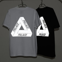 Wholesale 2016 PALACE Reflective Tees Men Boy Punk Skateboard T Shirts Streetwear White Black M Light reflecting Short Sleeve T shirt Tops LLWF0514