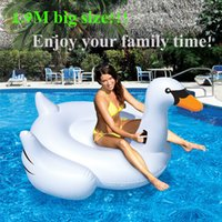 Wholesale 1 M PVC Swan Swimming Inflatable Float Giant White Swan Inflatable Floats Swimming Ring Raft Swimming Pool Floating Toys Swan And Flamingo