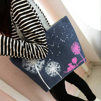 Wholesale Women Bags Floral Printing Casual Outdoor Lady Dandelion Shopping Handbags Canvas Tote Shoulder Bags ZB0516