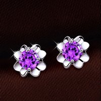 Wholesale Silver Stud Flower Earings Wholesale - 30% 925 Sterling Silver Earings White Gold Overlay Ear Jewelry Women Bohemian Wedding Stud Fashion Four Clover Leaf Earrings Hot New