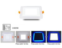Wholesale 3W W W W Blue White Double Color LED Panel Lights Ultra Thin Square Recessed LED Downlights LED Ceiling Lamps AC V