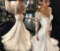 Model Pictures galia lahav - 2015 Galia Lahav Mermaid Wedding Dresses Sexy Vestido De Novia Plus Size Lace Long Sleeves See Through Back Chapel Train Bridal Gowns
