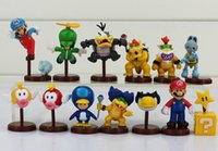 Wholesale Newest Set of Super Mario Bros Wii Collection Toy Figures penguin mushroom star Bowser Princess