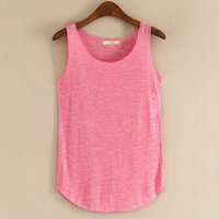 bamboo women t shirt - 2016 Spring Summer New Tank Tops Women Sleeveless Round Neck Loose T Shirt Ladies Vest Singlets Ladies Sleeveless topsTank T Shirt