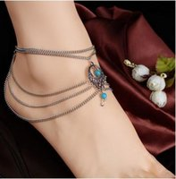 Wholesale Anklets Jewelry Fashion Women Vintage Turquoise Antique Silver Plated Hollow Out Water Drop Style Multilayer Alloy Anklets BR247