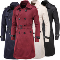 Cheap 3XL Mens Long Pea Trench Autumn Personalize Wild Slim Trench Coats For Men Solid Overcoat With Belt Trench Double Breasted J160815
