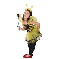 achat en gros de costume de fée jaune-2015 New Halloween Cosplay enfants costume costumes costumes de performance de scène cosplay robe jaune miel fée princesse A070246