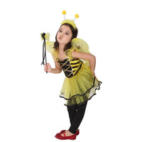 al por mayor traje de hada amarilla-2015 Nueva Halloween Cosplay del traje de los niños viste los trajes de funcionamiento de la etapa de cosplay vestido amarillo miel de hadas princesa A070246