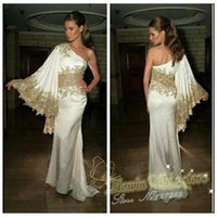 beautiful fashion models - 2016 Beautiful Gold Lace Appliques Long Sleeves Evening Dresses Sweep Train Beading Sequined One Shoulder Arabic Party Prom Gowns White