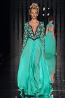 abed mahfouz - Abed Mahfouz Turkey Kaftan Long Sleeves Evening Dress Sexy V Neck Beaded Green Long Evening Gowns New Arrival Chiffon L294