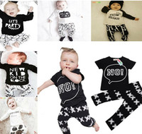 baby bottle tops - Kids Ins Suits T Shirts Pants Baby Ins Tops Trousers Summer Ins Outfits Fashion Shirts Harem Pants Ins Baby Clothing Romper Color A880