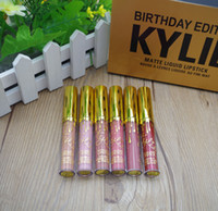 Wholesale 2016 Kylie Jenner Limited Birthday Edition Kylie Matte liquid Lipstick mini gold kylie lip kit