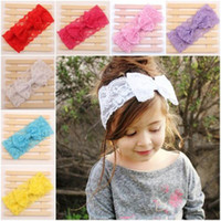 Wholesale Nice Kids Baby Girl Toddler Lace Bowknot Headband Hair Band Headwear Hair Accessories Gift Colors