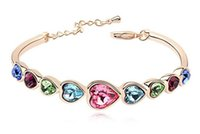 Wholesale Genuine use of SWAROVSKI Elements Crystal Bracelet the heart high end European and American style champagne golden