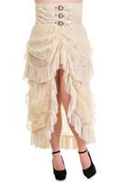 Wholesale regular plus sizes Fashion Design Popular Long Gothic Steampunk Skirt Ivory VTG Victorian Lace Bustle Corset