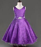 Cheap Dark royal blue flower girl dress white red blue black party dress children dresses for weddings girls formal dresses