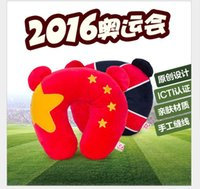 Wholesale 2016 Brazil Olympic U Shape Pillow Outdoor Camping Home Travel Rest Car Fashion Neck Pillow Office Pad