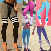 Wholesale 6 COLORS ladies fashion sport stretchable striped leggings sports outwear fitness gym yoga sport legging women instagram girl skinny pants