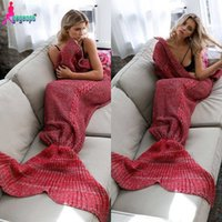 animal long tail - Gagaopt Warm Knitted Mermaid Blanket Princess Fish Tail Kids Adult Sofa Sleeping Bag Handmake Crochet Wrap Bedding