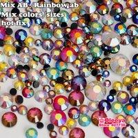 Wholesale DMC Hot Fix Rhinestone AB Colors Magic Rainbow Colorful Mix Gram Approx Hot Fix Stone Glitter Crystal Beads Y0027