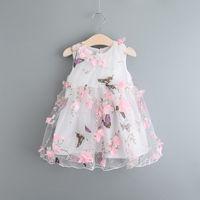acrylic cotton blend yarn - The latest Hot sale summer children s clothing for girls butterfly petal yarn vest princess dress jumpsuit Vestidos