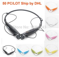 Wholesale 50pc Wireless Bluetooth HandFree Sport Stereo Headset headphone Neckband With MIC Listen Music Strong bass HV DHL