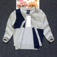 Wholesale Children Cardigan Autumn New Boy s Knitted Sweater Contrast Color V Neck Knitwear Kids Clothes Patchwork Gray Blue Fashion Hot Sale