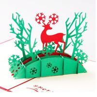 al por mayor árboles arte hecho a mano-Regalos de Navidad 2016 100pcs de felicitación plegable 3D Laser Cut Pop Up Arte de papel hechas a mano Elk árbol Postales ZA1250