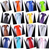 Wholesale Mens necktie CM Solid Color Plain Satin Tie silk tie black and white necktie silk jacquard Party Wedding tie colors DHL free