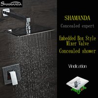 bath arms - Hot Sale Chrome In Wall Embedded Box Shower Set Bath Faucet Mixer Brass Shower Arm Various Styles Shower Head