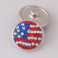 aa charms jewelry - Hot sale KB2409 AA Beauty USA flag rhinestone MM snap buttons for DIY ginger snap bracelets Accessories charm jewelry