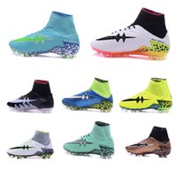 Wholesale 2016 original Mercurial Superfly CR7 FG Pink Soccer Shoes Hypervenom Phantom II FG SOCCER Cleats High Ankle Football Boots