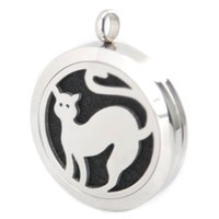 aromatherapy cats - Silver Jewelry Cute Pet Cat Aromatherapy Essential Oil surgical Stainless Steel Perfume Diffuser Locket Necklace with chain and pads