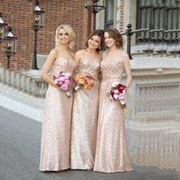 Wholesale Sequined Bridesmaid Dresses Strapless Ruffles Sequined Prom Party Wedding Guest Dress Long Dress Rose Gold Bridesmaid wedding Wear Z922