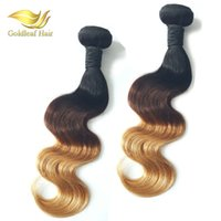 Cheap Hot Selling Brazilian Malaysian Peruvian Indian Ombre Human Hair Wefts Extensions Three Tone Colored Ombre Hair Extensions