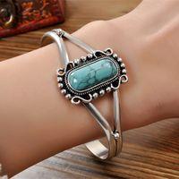 bella turquoise bracelet - Free ship New Arrival Movie Bracelet Twilight Bella Bangle Vintage Silver Plated Natural Turquoise Alloy Bracelet For Women