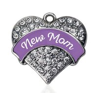 antique paving - Fashion antique silver plated NEW MOM PURPLE PAVE HEART CHARM for Pendant