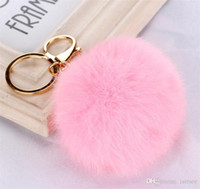 Wholesale 100pcs colors lovely CM Genuine Leather Rabbit fur ball plush key chain for car key ring Bag Pendant car keychain