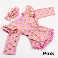 big bloomers - INS Baby Girl Long Sleeve Gilding Polka Dot Rompers Children Floral Bronzing Romper Onesies Bloomers Playsuits Big Bow Headbands Piece Sets