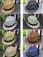 accept checks - 2016 Vogue Men Women Straw Hats Soft Fedora Panama Hats Outdoor Stingy Brim Caps Accept Mix Order