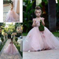Wholesale Blush Pink Flower Girls Dresses Appliques Spaghetti Straps Ball Gown Ruffles Tulle Kids Pageant communion dress