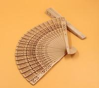 Wholesale Wood Fans Oriental Fan Natural Color Fan Frames Hollowed out Wood Fans Handmade Sun Flower Scented Wood Fan for Any Events Hand Fans