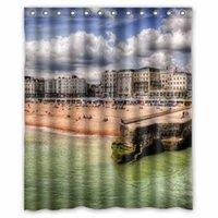 beach house curtains - USA Houses Coast Sky Brighton Beach New York City Customized Design Bath Animal Waterproof Shower Curtain x180cm Bathroom Curtains
