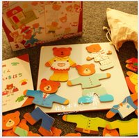 bear story books - Baby Toys New Arrived Japan Ed Inter Bear Family Dressing Jigsaw Magnetic Puzzles Educational Story Book Wooden Toys Gift