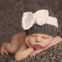 baby spells - 2016 Newborn hats Baby hats knitting wool hat hot spell color bow hat baby warm winter hat in Europe and America style Caps Hats