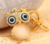 big chain saws - Fashion Jewelry Key Chains cute owl big gems gold key chain J34 chain pendant chain saw