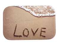 beach bath rugs - 40 cm Sandy beach Love Bath Mats Anti Slip Rugs Coral Fleece Carpet For For Bathroom Bedroom Doormat Online